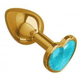 Золотистая анальная втулка с голубым кристаллом-сердцем - 7 см.