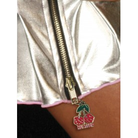 Коротенькая плиссированная юбка цвета металлик с молнией
