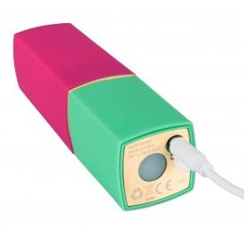 Бесконтактный стимулятор клитора в форме помады Womanizer W-260 2GO в розово-зелёном корпусе