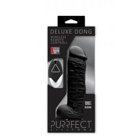 Чёрный реалистик на присоске и с пультом ДУ PURRFECT SILICONE DELUXE REMOTE VIBE 7IN - 18 см.